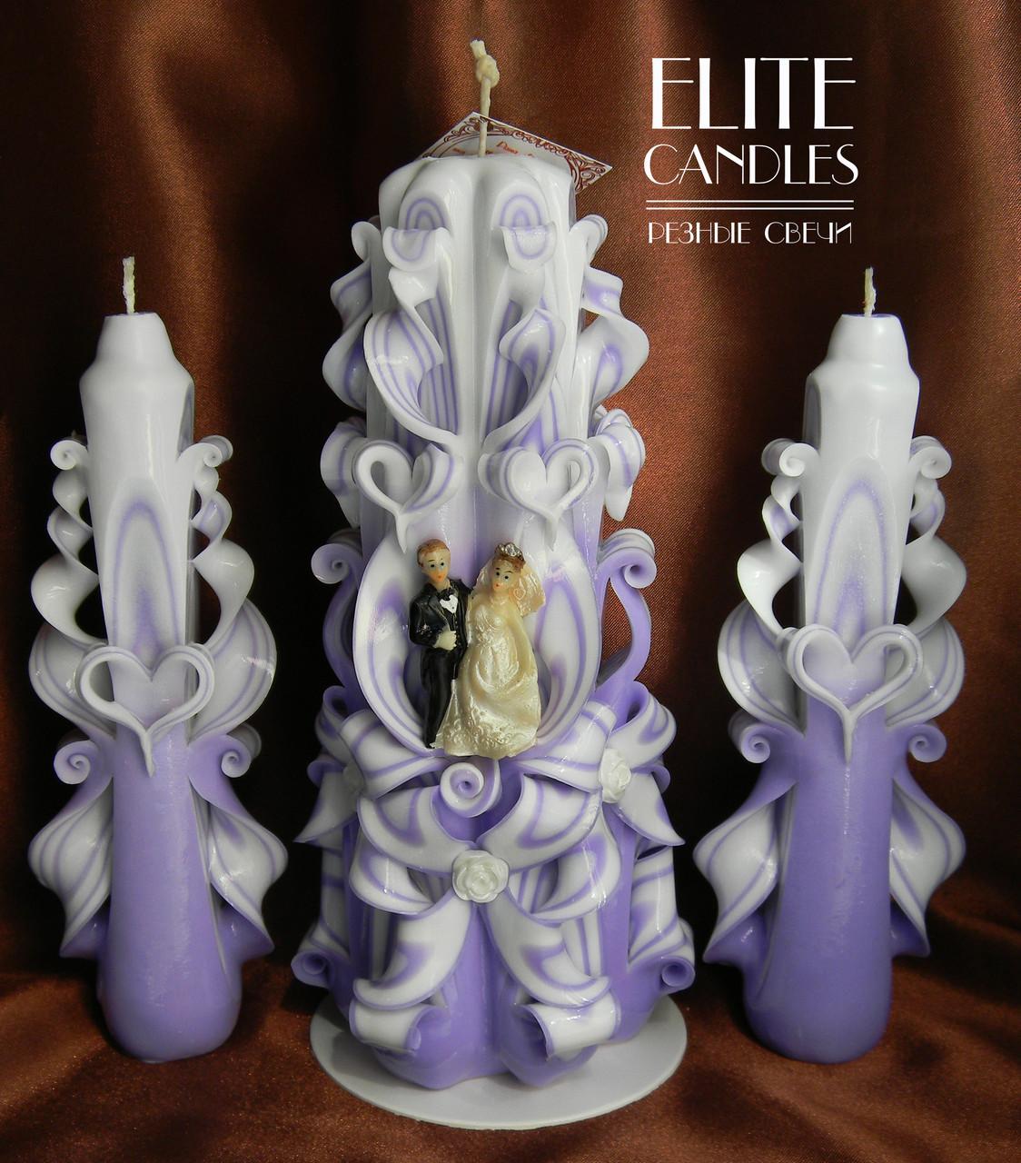 Набор свечей на свадьбу фиолетового цвета
