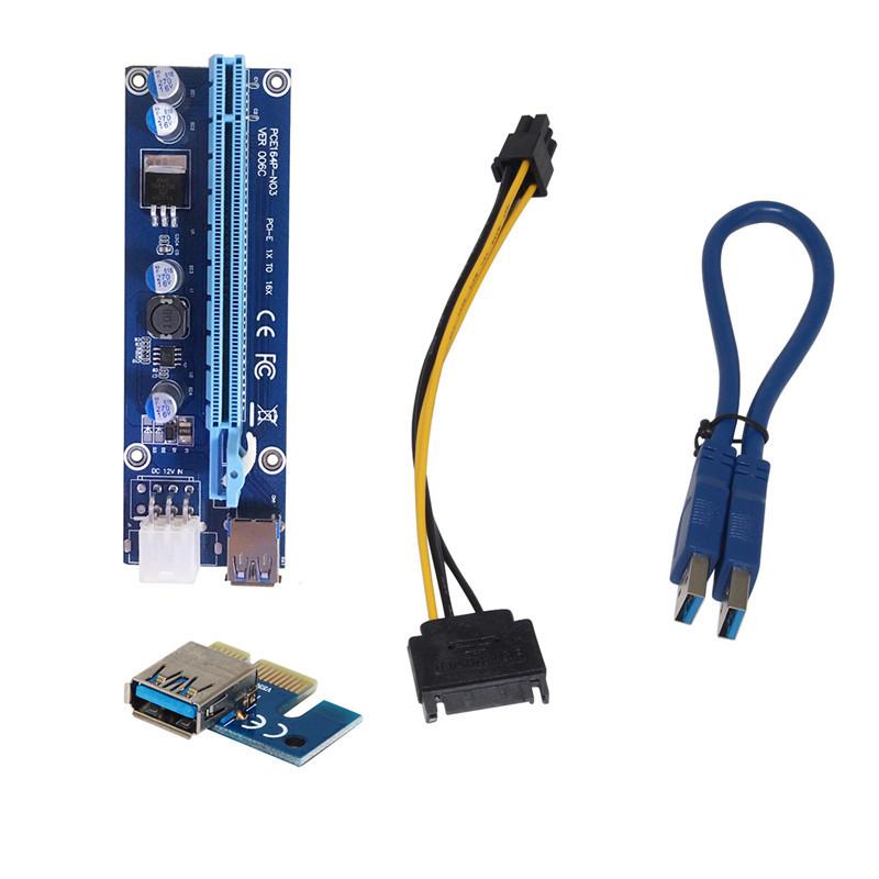 Райзер PCI-E(Riser pci-e) 1X - 16X, USB 3.0 кабель 30см, питание 6 pin