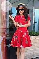 Платье с интересным принтом и отрезной юбкой 1040 (ГН)