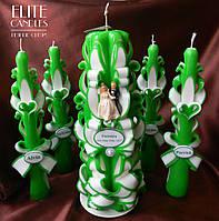 Большие свадебные свечи для свадьбы в зеленом цвете