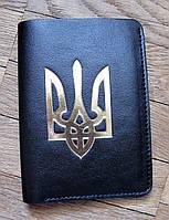 Бумажник кожаный черный с Трезубцем, фото 1