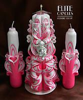 Свадебные свечи с ангелочком для церемонии зажигания очага розового цвета