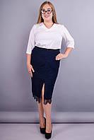 Рита. Офисная юбка супер батал. Синий.