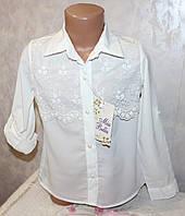Блуза школьная Турция (шифон) рукав трансформер 6,7,8,9 лет