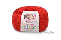 Турецкая пряжа Alize Baby Wool полушерсть красный №56