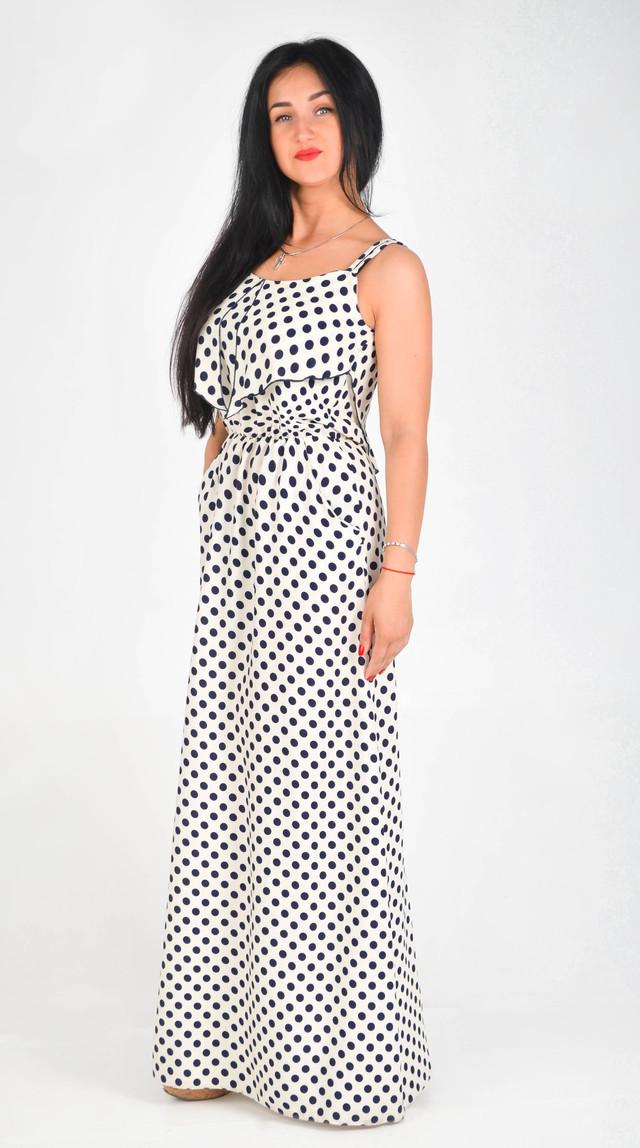 8acea4ef0aa Длинный белый сарафан в черный горошек - оптово - розничный интернет -  магазин