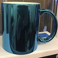 Зеркальная чашка для сублимации Голубая