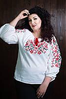 """Льняная женская вышиванка больших размеров """"Афродита"""""""