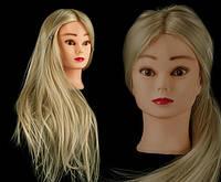 Учебная голова 20% натуральных волос, длина 65-70 см, цвет белый