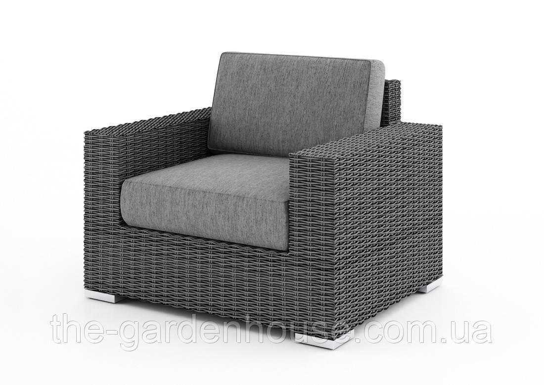 Садове крісло Milano Royal з штучного ротанга сіре