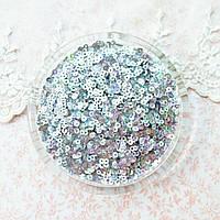 """Пайетки """"Серебро радужное"""" Индия, 3 мм - 5 г."""