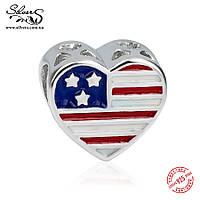 """Серебряная подвеска шарм Пандора (Pandora) """"Флаг США. Военная мама"""" для браслета бусина"""