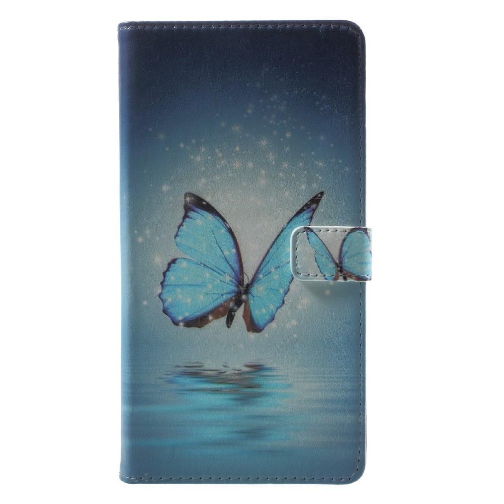 Чехол книжка для Sony Xperia L1 G3313 боковой с отсеком для визиток, Голубая бабочка над водой
