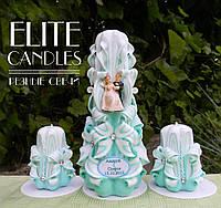 Бирюзовые свадебные свечи для семейного очага, именные высокого качества, резные