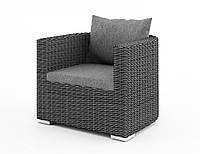 Садовое кресло VeneziaRoyal из искусственного ротанга серое, фото 1