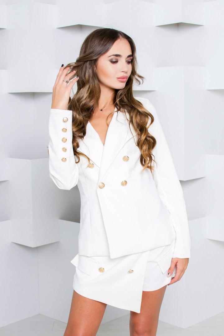 e3181f63afa Модный женский костюм двойка жакет и юбка-шорты