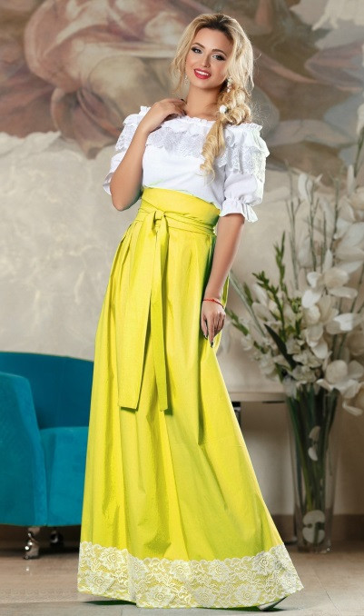 Пышная юбка в пол желтая