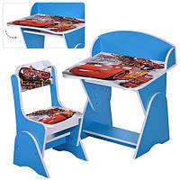 Парта ML-315-01-3 (1шт) регулируемый наклон, стульчик, в кор-ке, голуб, ТЧ