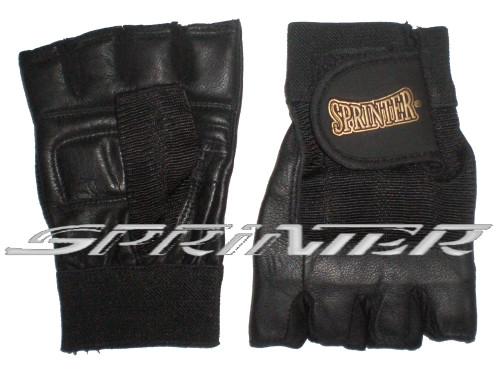Перчатки для тяжёлой атлетики с напульсником.Цвет чёрный. Размер :M.(Пакистан)