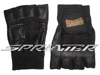 Перчатки для тяжёлой атлетики с напульсником. Цвет чёрный. Размер :L.(Пакистан)