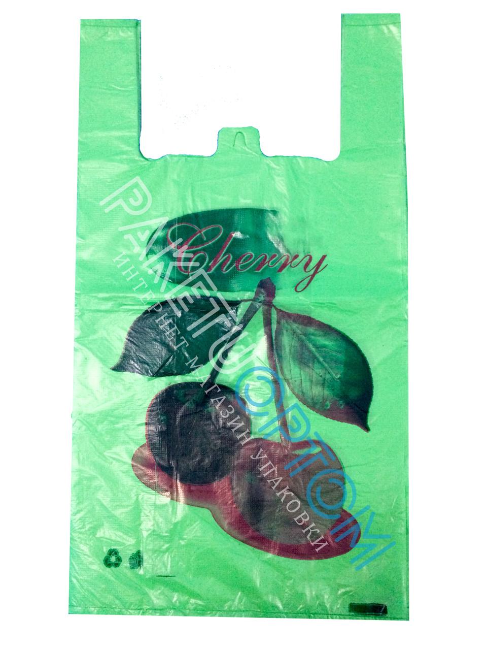 Пакет  майка Вишня зелёная 30х55