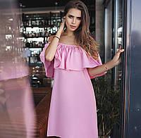 79ec515a56d Женское стильное платье MINI с воланом 033   розовое