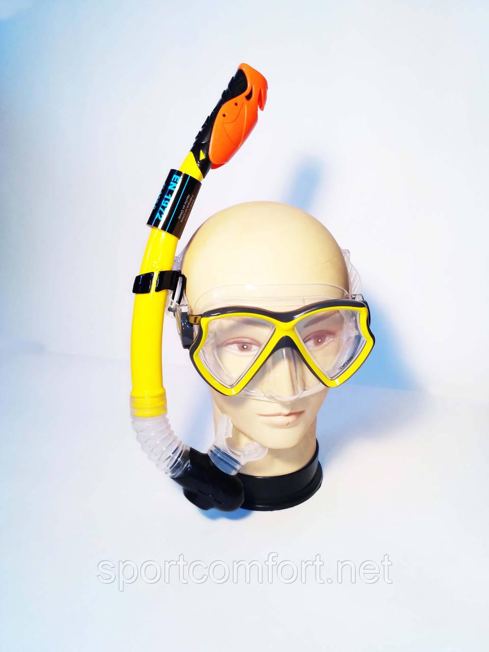 Маска и трубка  для плавания (6-18 лет) Intex  с закаленным стеклом и силиконом