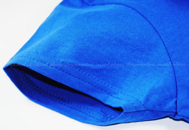 Ярко-синяя детская мягкая футболка для девочек