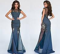 Красивое женское вечернее платье в пол с сеткой с открытой спиной  + цвета