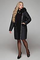 Женское двубортное комбинированное пальто зимнее