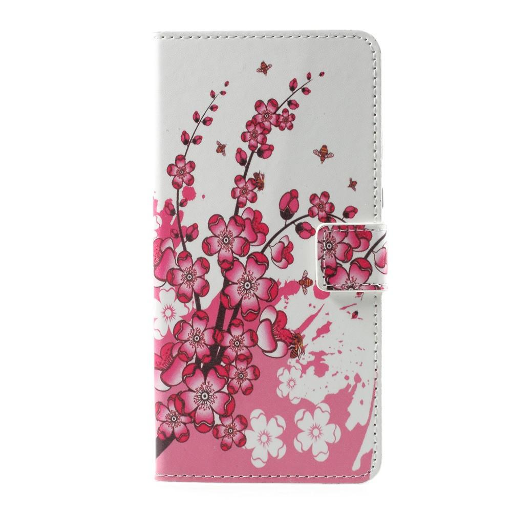 Чехол книжка для Sony Xperia L1 G3313 боковой с отсеком для визиток, Цветущая сакура