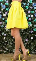 Желтая мини юбка