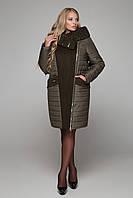 Комбинированное пальто зима 2018 большие размеры до 68