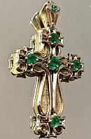 """Золотая Подвеска-Крест """"Духовное Сердце"""" с природными изумрудами"""