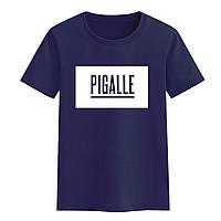 Футболка Pigalle темно синяя с логотипом мужская,женская,детская