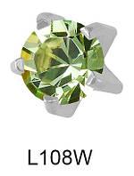 Серьги-иглы для прокола мочки уха L108W Хризолит c серебристым напылением