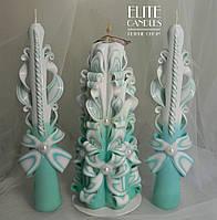 Свадебные бирюзовые свечи для семейного очага
