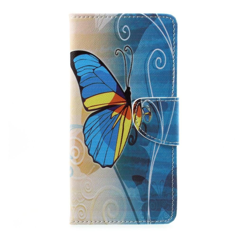 Чехол книжка для Sony Xperia L1 G3313 боковой с отсеком для визиток, Желто-голубая бабочка