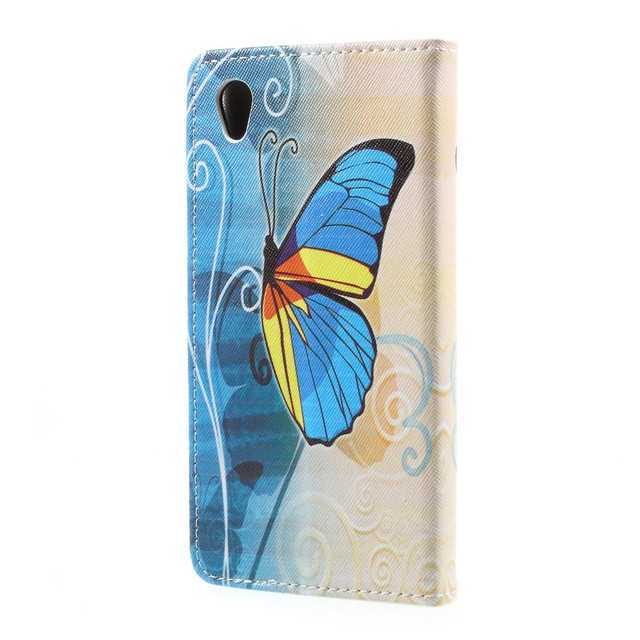 чехол на Sony Xperia L1 книжка с желто-голубой бабочкой