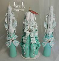 Свечи цвета бирюза для семейного очага на свадьбу