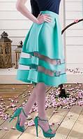 Мятная юбка с полосками из сетки