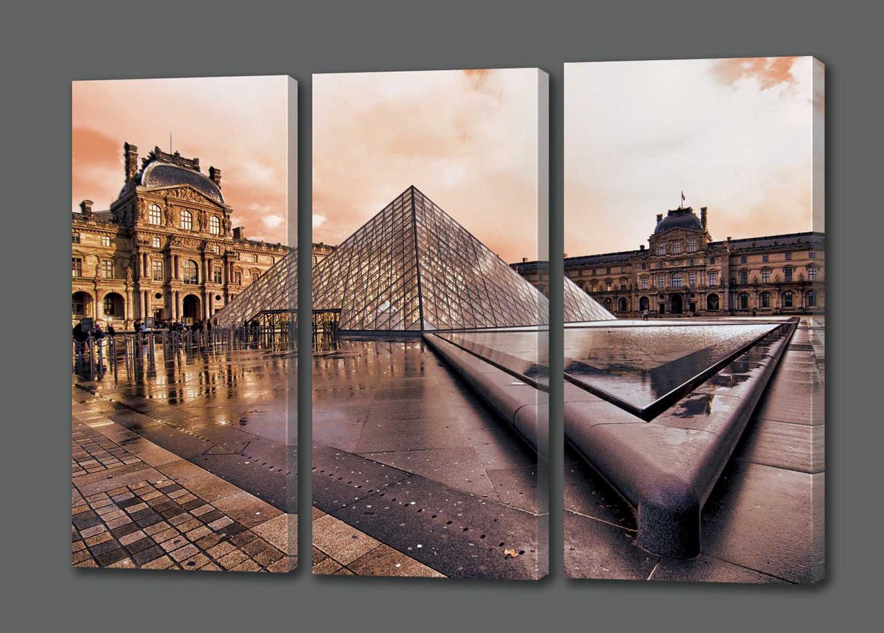 Модульная картина Пирамида.Лувр.Франция 124*70 см