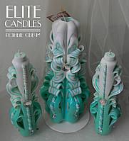 Бірюзовий набір весільних свічок з майстерні різьбленням ELITE CANDLES