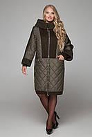 Зимнее комбинированное пальто с шерстью большие размеры