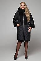 Комбинированное зимнее женское  пальто с шерстью