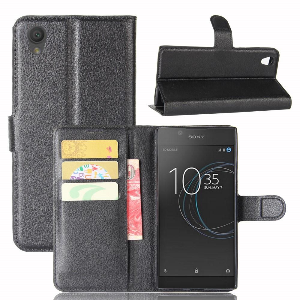 Чехол книжка для Sony Xperia L1 G3313 боковой с отсеком для визиток, черный