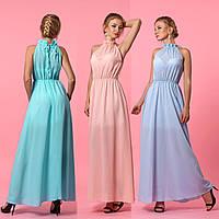 Длинное шифоновое платье с пышной юбкой и американской проймой