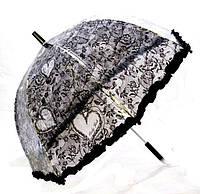 Зонт трость детский прозрачный Цветы с Рюшкой 001-6