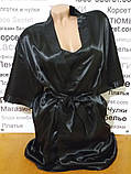 Атласный комплект халат и пижама черный, фото 3