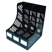 Лоток для бумаг вертикальный сборный на 3 отделения Economix, пластик, черный